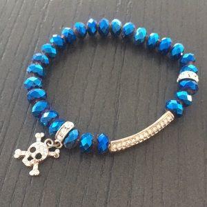 Beaded Elastic Bracelet with Rhinestone Accents